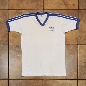 VTG 80s White Blue Adidas Originals Trefoil Shirt